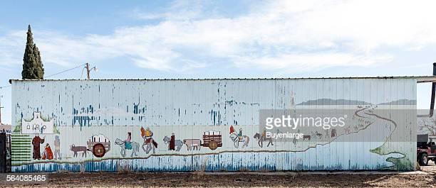 Mural on a metal building across from the Nuestra Senora de la Concepcion del Socorro or Socorro Mission El Paso Texas