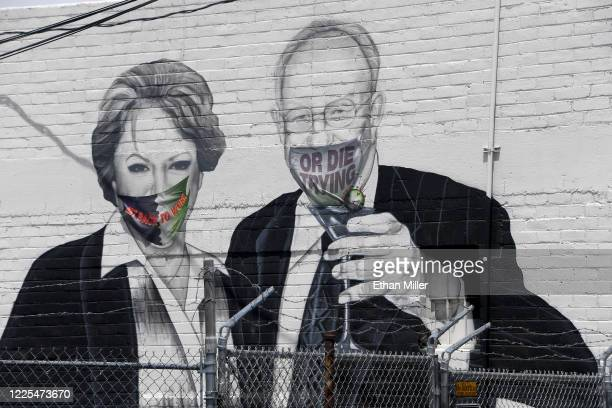 A mural on the side of the Majestic Repertory Theater depicts Las Vegas Mayor Carolyn Goodman and her husband former Las Vegas Mayor Oscar Goodman...