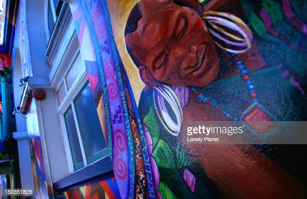 mural on the women's building in the mission district. - mission district stock photos and pictures