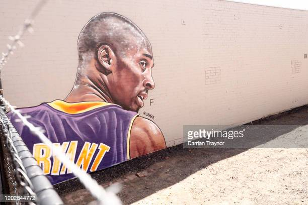 A mural painted by Australian street artist Lush Sux is seen on Budd Street Collingwood on January 30 2020 in Melbourne Australia Former NBA great...