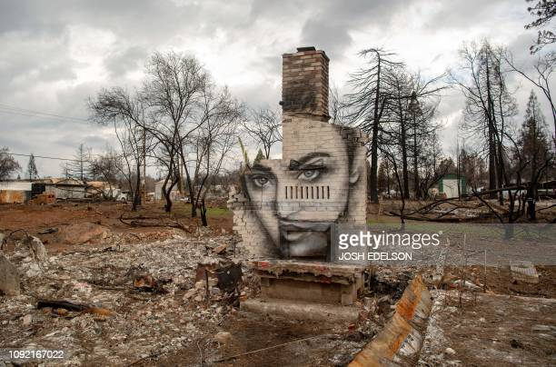 TOPSHOT A mural painted by Shane Grammar is seen on a chimney that remains at a property burned by the Camp fire in Paradise California on February...