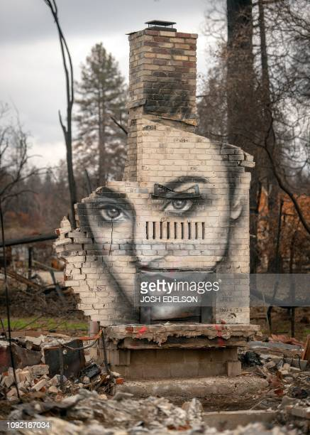 A mural painted by Shane Grammar is seen on a chimney that remains at a property burned by the Camp fire in Paradise California on February 01 2019...
