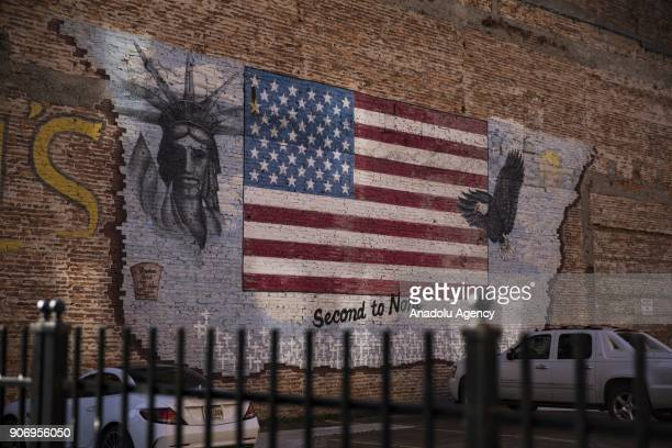 Mural painted on the side of a brick building is seen in Shreveport, Louisiana, United States on January 04, 2018.