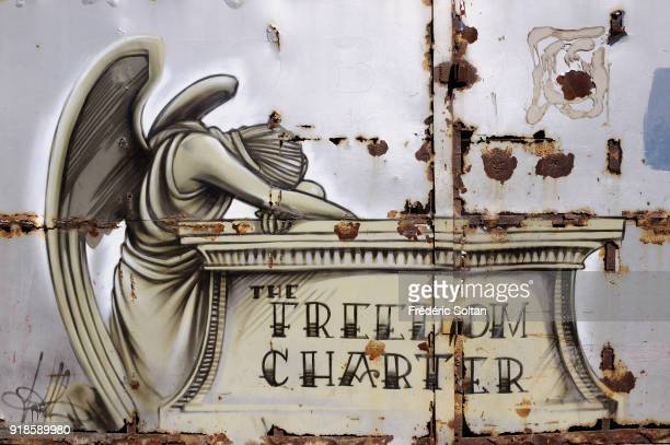 Mural painting and graffitis in Cape Town Mural painting by South African painter Faith 47 who denounces injustices and defends the freedom charter...