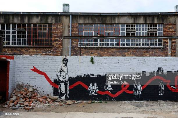 Mural painting and graffitis in Johannesburg recalling the history of black people at the time of apartheid in South Africa on April 10 2017 in...