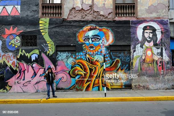 Mural painting and graffitis in the neighborhood of the alternative counterculture in the heart of Lima on July 26 Peru