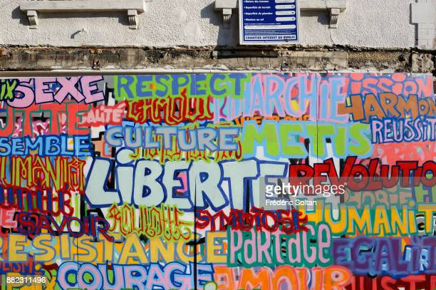 Mural painting and graffitis in the suburbs of Paris on September 20 2015 in Paris France
