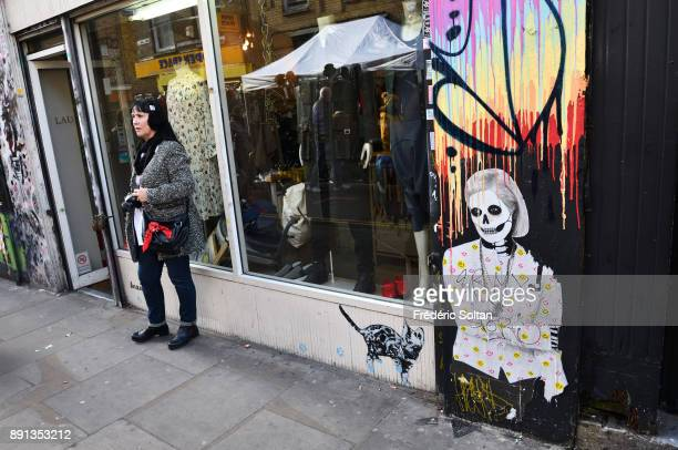 Mural painting and graffitis of Brick Lane district in the East End of London also called Banglatown Former worker district in the 19th century East...