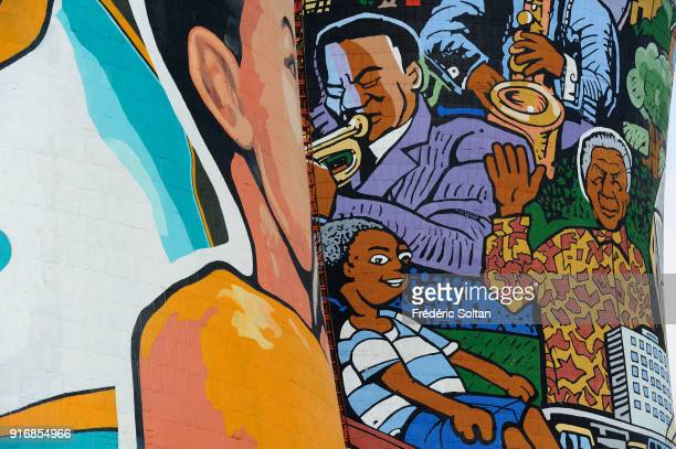 Mural painting and graffitis on the Orlando Towers, built for the Orlando decommissioned coal fired Power Station. Orlando is a township in the urban...