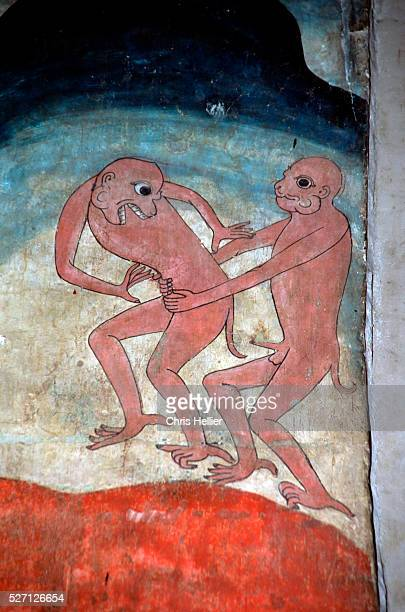A mural painting at Wat Phumin portrays Europeans as homosexual monkeys | Located in Wat Phumin