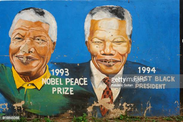 Mural painting illustrating antiapartheid activist and former President of South Africa Nelson Mandela in the township of Orlando in the urban area...