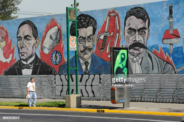 Mural painting in Mexico Mural honouring General Emiliano Zapata leading figure in the Mexican Revolution against the president Porfirio Díaz in...