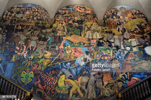 Mural painting in Mexico Mural painting by Mexican painter and muralist Diego Rivera at National Palace in Mexico City This painting represents the...