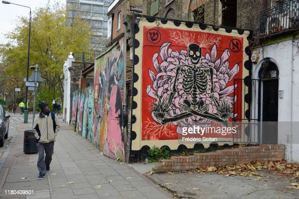 Mural painting in popular area in east London on September 12 2018 in London United Kingdom