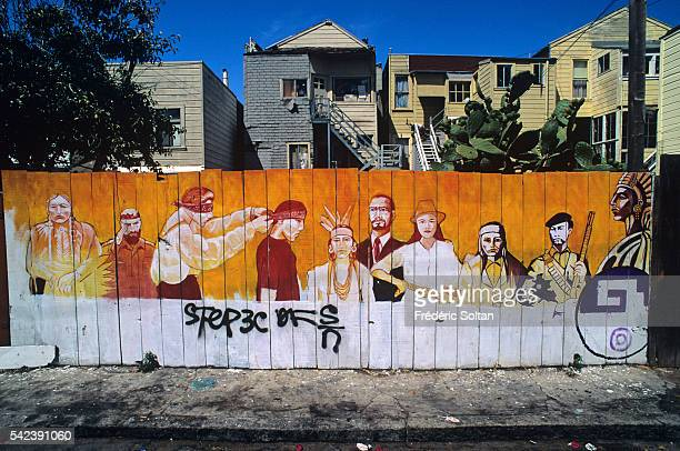 Mural painting in the Mission District commemorating the 500th anniversary of Columbus' 1492 landing in the Americas and the massacre of Native...
