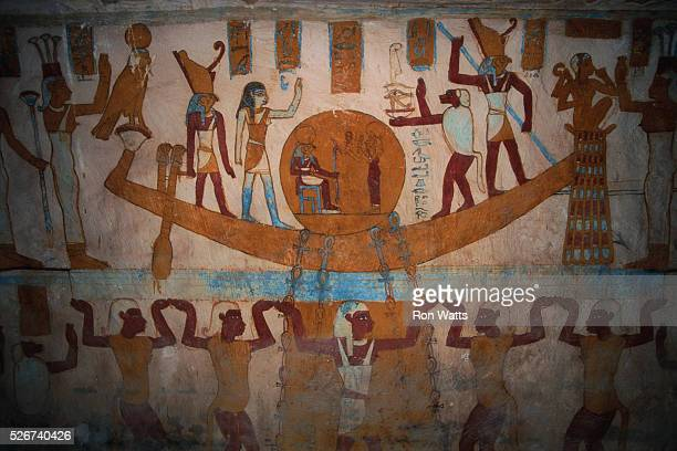 Mural Painting in Tomb of Bannantiu Depicting Solar Barque with Egyptian Gods and Goddesses