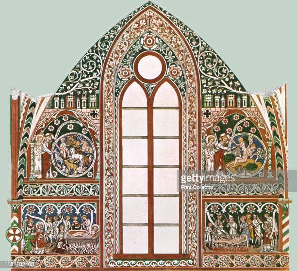 Mural painting in Wienhausen Abbey Lower Saxony Germany '1st Half of 14th CenturyThe frescos which are painted on plaster begin above the stallwork...