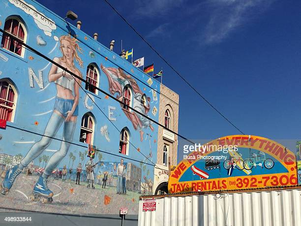 Mural painting inspired by Boticelli's 'The Birth of Venus', in Venice Beach