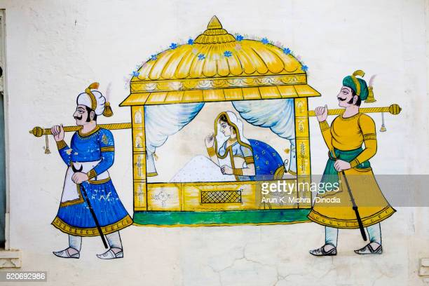 Mural Painting of Bride in Palanquin on Wall Udaipur Rajasthan