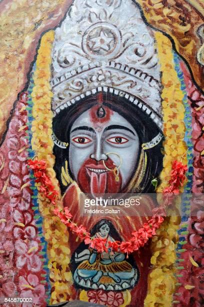 Mural painting of the goddess Kali in Kolkata on June 20 2016 in Kolkata India