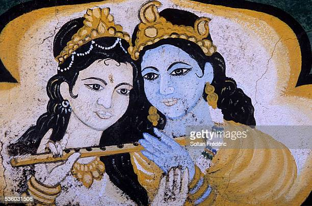 mural painting of yogeswar temple - krishna stock photos and pictures