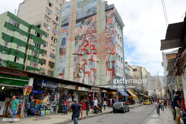 Mural painting on deforestation of Amazon forest in working class district city centre in Rio de Janeiro on November 15 2015 in Rio de Janeiro Brazil