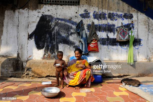 Mural paintings and economic migrants in the streets of Mumbai on March 15 2012 in Mumbai India