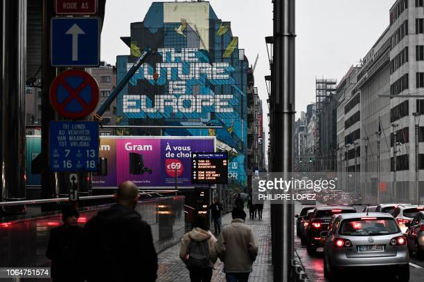 A mural reading 'The future is Europe' is seen on a building outside the EU Headquarters in Brussels on November 24 2018 European leaders resolved a...