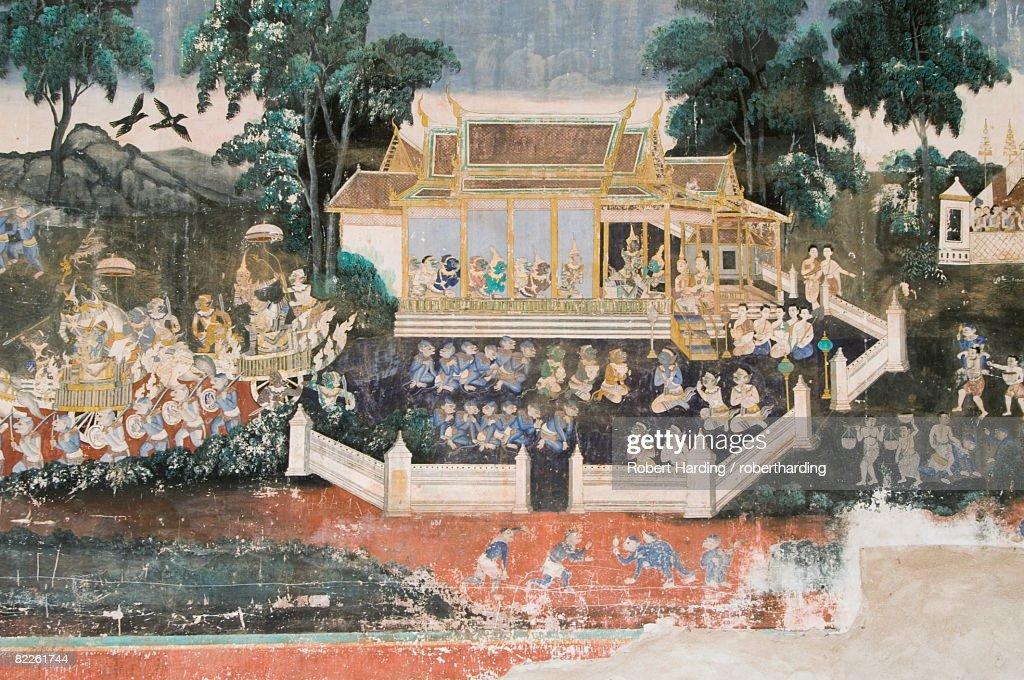 Mural, The Royal Palace, Phnom Penh, Cambodia, Indochina, Southeast Asia, Asia : Stock Photo