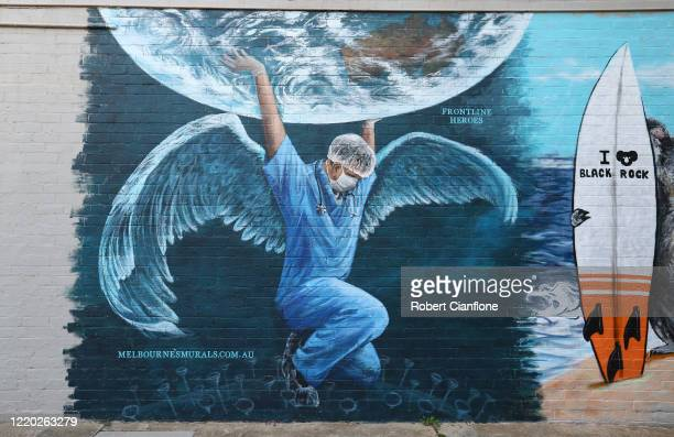 Mural to honor the medics currently helping to fight COVID-19 is seen on April 22, 2020 in Melbourne, Australia. All non-essential business are...