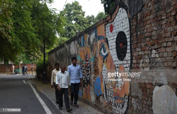 Mural wall art near the Agrasen ki Baoli, on Hailey Road, near Connaught Place on October 13, 2019 in New Delhi, India. Designated a protected...