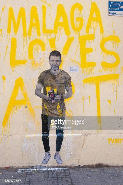 A mural with a graffiti of Spanish actor Antonio Banderas is seen at the 'Soho' urban district in down town Malaga The participation of urban artist...
