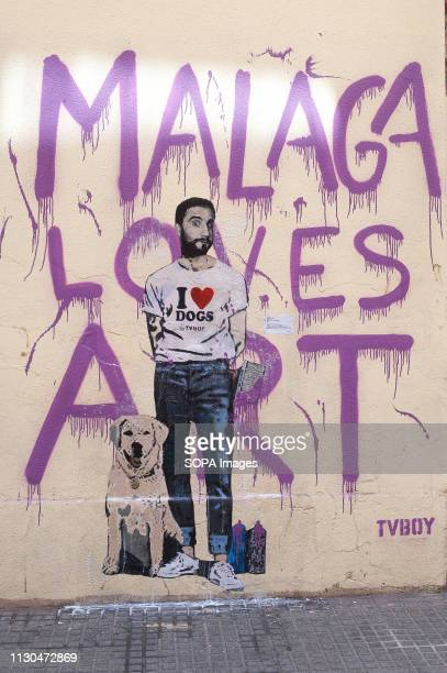 A mural with a graffiti of Spanish actor Dani Rovira is seen at the 'Soho' urban district in down town MalagaThe participation of urban artist TVBOY...