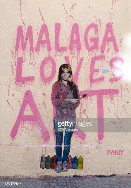 A mural with a graffiti of Spanish actress and singer Marisol is seen at the 'Soho' urban district in down town Malaga The participation of urban...