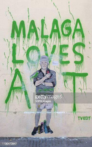 A mural with a graffiti of Spanish artist Pablo Picasso is seen at the 'Soho' urban district in down town Malaga The participation of urban artist...