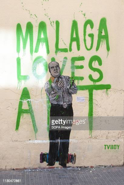 A mural with a graffiti of Spanish humorist 'Chiquito de la Calzada' is seen at the 'Soho' urban district in down town Malaga The participation of...