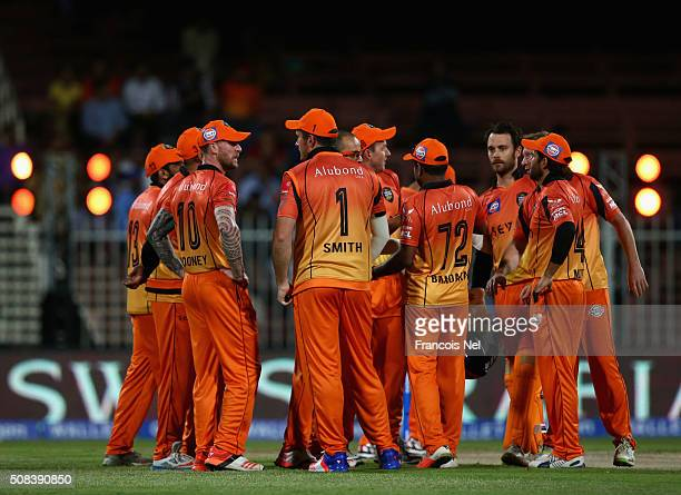 Murali Kartik of Virgo Super Kings celebrates with teammates after dismissing Brendan Taylor of Leo Lions during the Oxigen Masters Champions League...