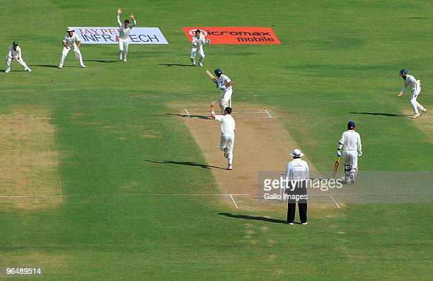 Murali Vijay of India bowled by Dale Steyn of South Africa for 4 runs during the day 3 of the 1st test between India and South Africa from Vidarbha...