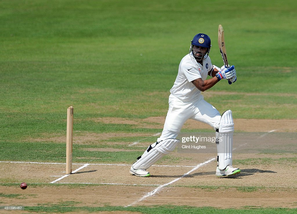 Murali Vijay of India hits out during day two of the tour match between Derbyshire and India at The 3aaa County Ground on July 2, 2014 in Derby, England.