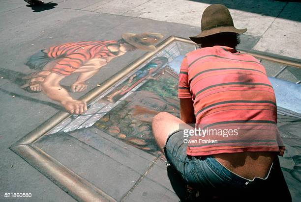 Muralist Draws Himself Into Street Drawing