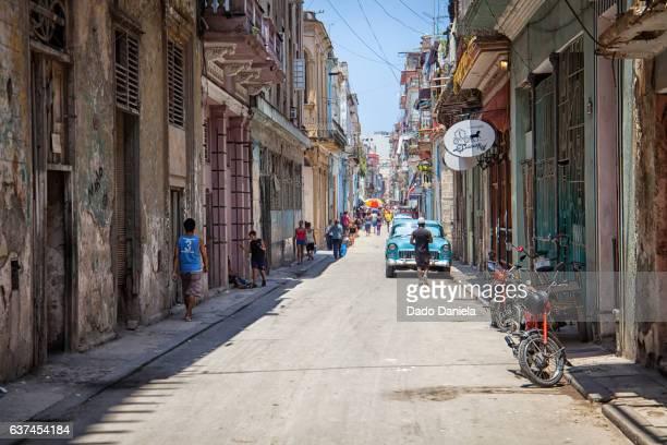 muralla street in old havana - muralla stock photos and pictures