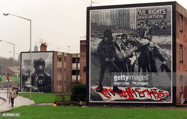 Mural's adorning wall's of 'Free Derry Corner' today in the Bogside area of Londonderry Northern Ireland The British Goverment announced in the House...