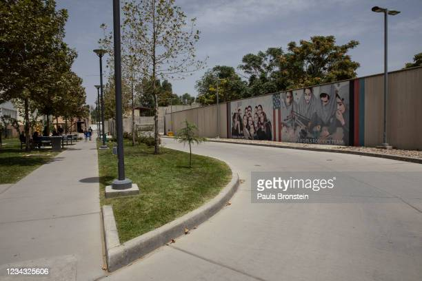Murals are seen along the walls at a quiet US embassy on July 30, 2021 in Kabul, Afghanistan. More than 200 Afghan nationals who assisted American...