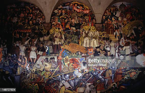 Murals by Diego Rivera in the National Palace, 120 frescos were painted by Rivera and his assistants in the 1920's