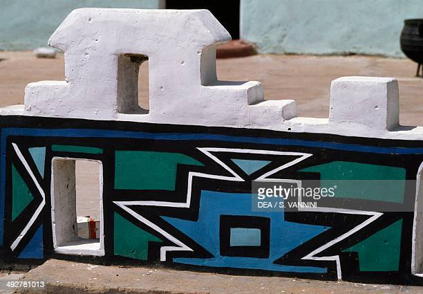Murals in the Ndebele village of Botshabelo Free State province South Africa
