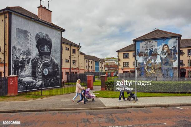 Murals in the People's Gallery, in the Bogside district of Derry/Londonderry, Northern Ireland, UK