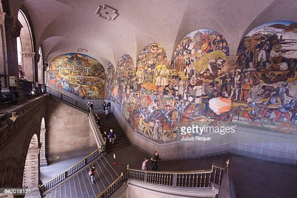 Murals of Diego Rivera where the staircases meet at the Palacio Nacional
