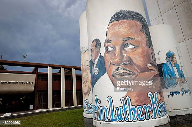 Murals of Martin Luther King Jr Cesar Chavez and Rosa Parks are seen outside of Compton City Hall in Compton California US on Tuesday June 30 2015 It...