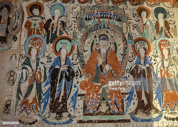 Murals of Mogao cave 285 AD538539 The Mogao Caves also known as the Thousand Buddha Grottoes are the best known of the Chinese Buddhist grottoes and...