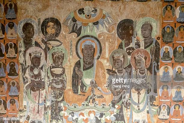 Murals of Mogao cave 419, A.D. 581-618Sui Dynasty. The Mogao Caves, also known as the Thousand Buddha Grottoes, are the best known of the Chinese...